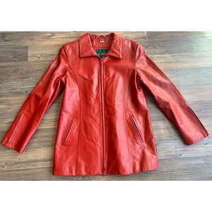 Danier Genuine Leather Jacket Red Sz Medium